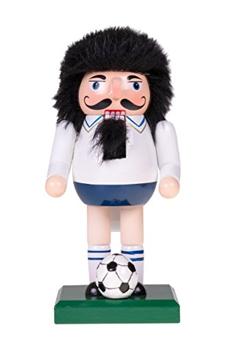 Soccer Player Nutcracker | Traditional Christmas Decor | Soccer Ball | Black Hair, White Shirt and Blue Shorts | Perfect for Any Collection | Perfect for Shelves and Tables | 100% Wood | 7