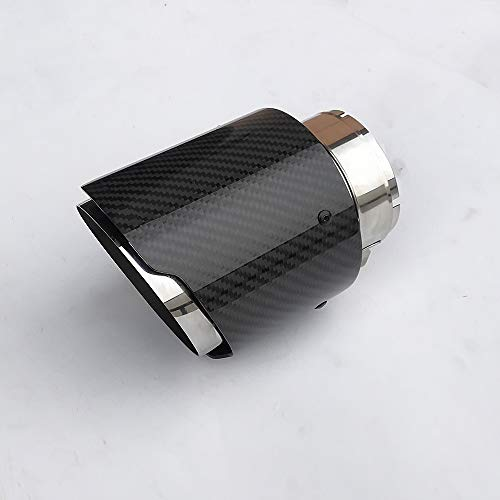 SORMOR Glossy Carbon Fiber Muffler Pipes (Exhaust Tips) with Mirror Polishing Stainless Steel, Inlet 63mm(2.5