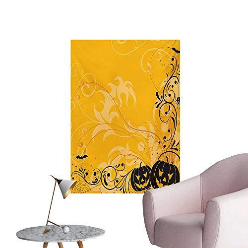 Anzhutwelve Halloween Photographic Wallpaper Carved Pumpkins with Floral Patterns Bats and Web Horror Jack o Lantern ArtworkOrange Black W32 xL36 Cool Poster -