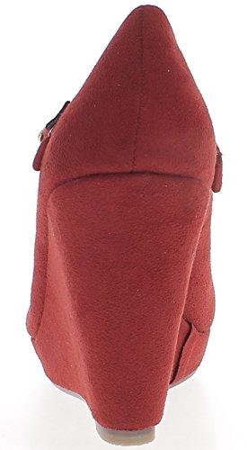 Compensées rouges à talon de 9,5cm aspect daim avec fine bride
