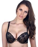 Felina Satin Lace Overlay Push Up Underwire Bra Style F5175