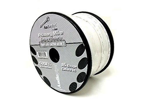 Audiopipe 500' Feet 16 GA Gauge White Primary Remote Wire Car Power Cable 500' Lead Wire