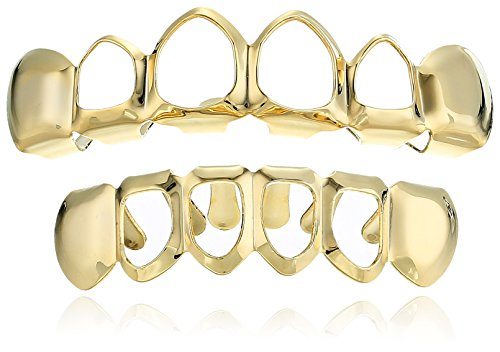 18K Gold Plated Brass Top And Bottom Open Face 6-Tooth Grillz Set -