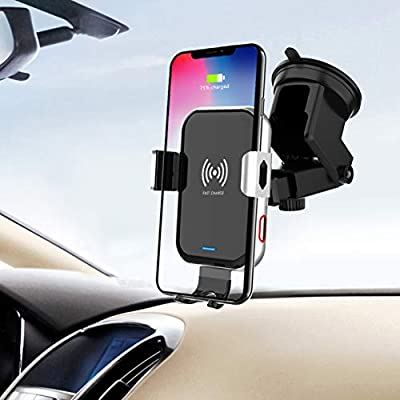 Wireless Car Charger,10W Fast Charging Auto-Clamping Car Mount, Windshield Dash Air Vent Phone Holder Compatible iPhone 11/11Pro/11Pro Max/Xs Max/XS/XR/X/8, Samsung Galaxy S10/S9/S8: Electronics