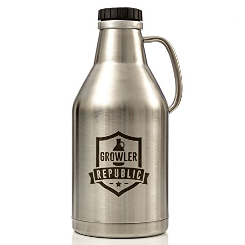 The Jug - Stainless Steel Beer Growler With Handle & Screw Top 64oz Double Wall Insulated by Growler Republic