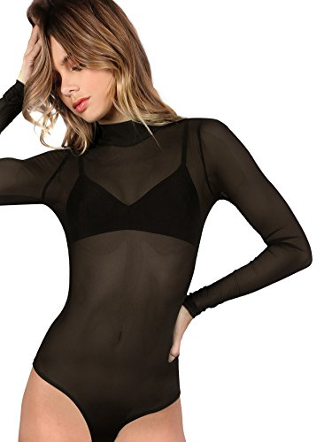 Floerns Women's Long Sleeve Mock Neck Sheer Sexy Mesh Bodysuit Black L