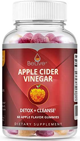 Apple Cider Vinegar Gummies with The Mother Enzymes and Ginger - Unfiltered and All-Natural - Helps with Detox, Cleanse, Bloating Relief & Weight Loss for Women, Men, and Kids -1 Month