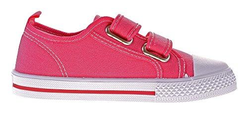 Norn Kinder Leinen Schuhe Hausschuhe Zweifach-Klettverschluss Kita Mädchen Stoff Halbschuhe Gr. 31-36 Peach-Blow