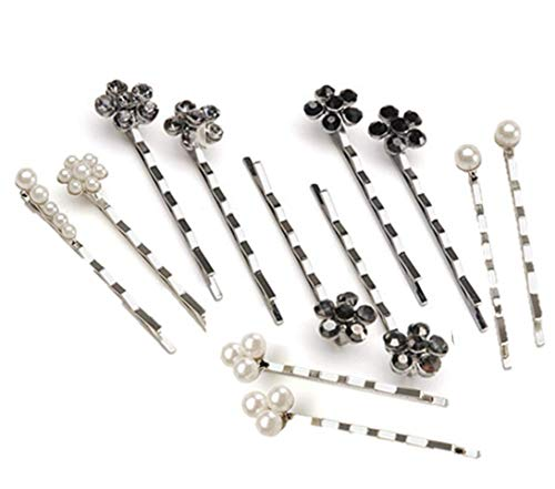 - Bobby Pins 12/Pkg, 6 Silver & Black Flowers 6 Jewelry Designer Decorated Bobby Pins