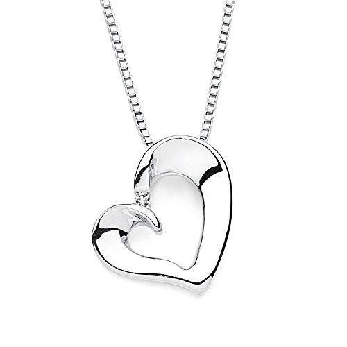 Boston Bay Diamonds 925 Sterling Silver Diamond Accent Open Heart Pendant Necklace, 18