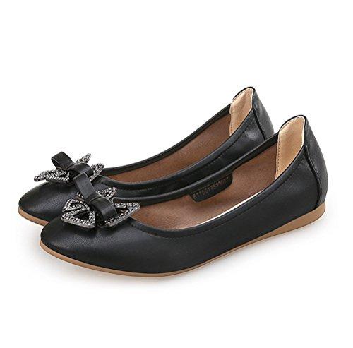 Altijd Mooie Dames Casual Leren Loafer Slip Op Plat Zwart