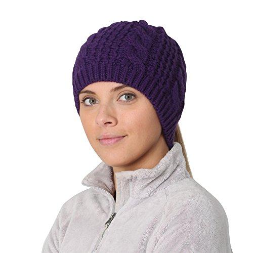able Knit Ponytail Beanie - purple (Fleece Toque)