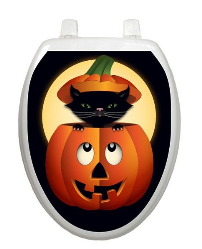 Peek-a-boo Kitty Toilet Tattoo TT-H702-O Elongated Halloween Seaonsal