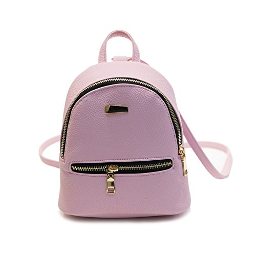 Price comparison product image Haotfire Girls Ladies PU Leather Backpack Shoulder Bag Purse Crossbody Casual Daypacks (Pink)