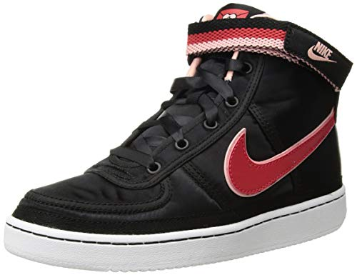 (NIKE Kid's Vandal High Supreme QS (GS), Black/Speed Red-Bleached Coral, Youth Size)