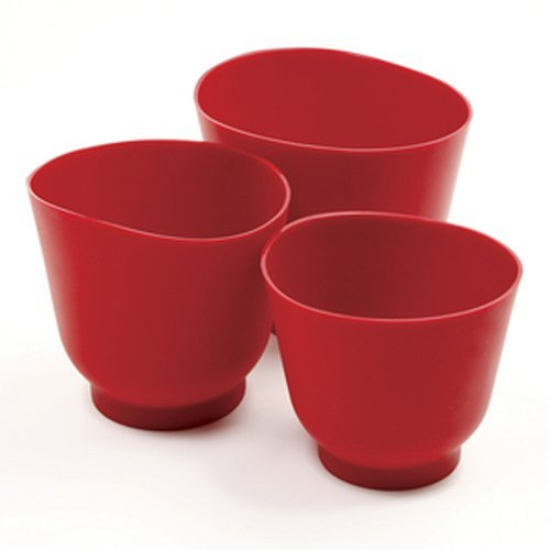 - Norpro 1019R 3 Piece Silicone Bowl Set, Red