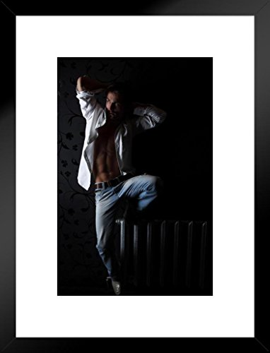 Poster Foundry Sexy Man Balancing on Silver Radiator Photo Art Print Matted Framed Wall Art 20x26 inch