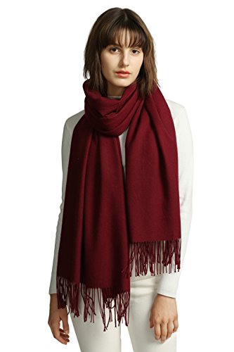 Scarf (MaaMgic Women's Super Soft Pashminas Wraps, Solid Color Scarf, Warm Shawls For Wedding Party, Burgundy, One Size, Large)