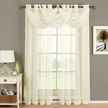 Luxury Abri Ivory Grommet Crushed Sheer Curtain, 50x108 inches, by Royal Hotel