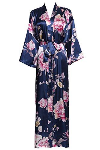 Floral Satin Nightgown - Zarachilable Women 's Long Kimono Robe Floral Bridesmaid Robe,Bridal Robe (one Size, Peony Navy)