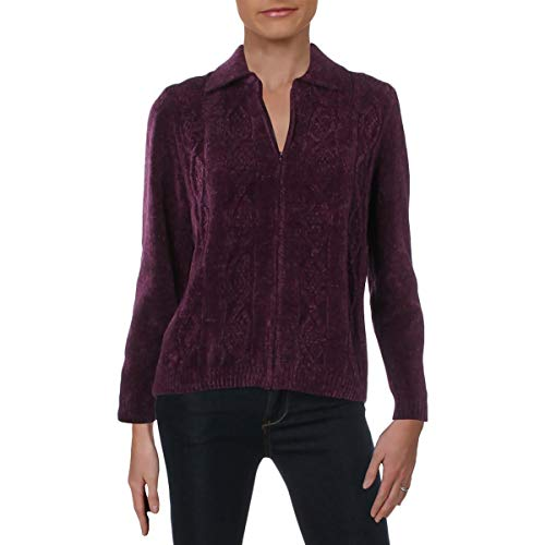 Alfred Dunner Womens Petites Collar Long Sleeves Jacket Purple PL