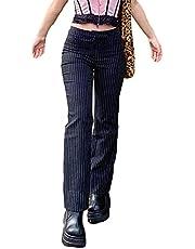 Whhhciy Dames hoge mode taille rechte broek E meisjes flare pants Streetwear Y2K gothic broek met wijde pijpen en strepen