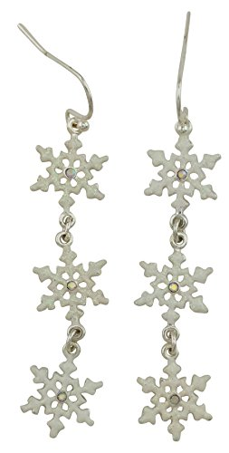 Three White Christmas Snowflake Drop Dangle Earrings with Crystal Centers. Silver Plated Hypoallergenic