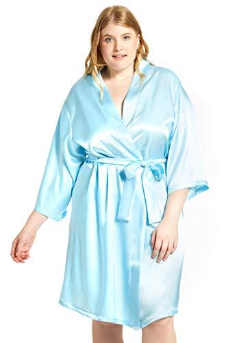 (Jovannie Women's Satin 3/4 Sleeve Plus Size Kimono Robe with Matching Sash Regular/Long Length (Light-Blue, 4X Plus))
