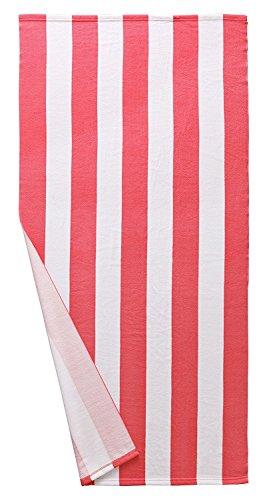 Exclusivo Mezcla Microfiber Cabana Striped Beach Towel Pink and White (30