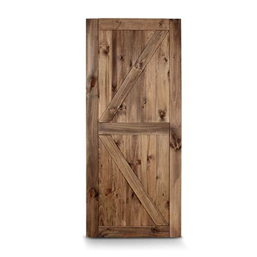 HLWL 36″ 84″ Sliding Barn Door Solid Knotty Pine Wood Slab Arrow Single Door, Brown (Color : Default)