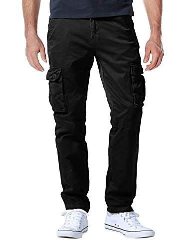 Match Men's Casual Wild Cargo Pants Outdoors Work Wear #6531(32,Black) -