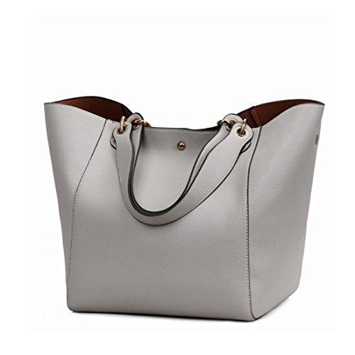 Grey Black Da Borsa Tote Bag Maniche Corte Donna Tracolla color A Per Limeinimukete U87gPn7