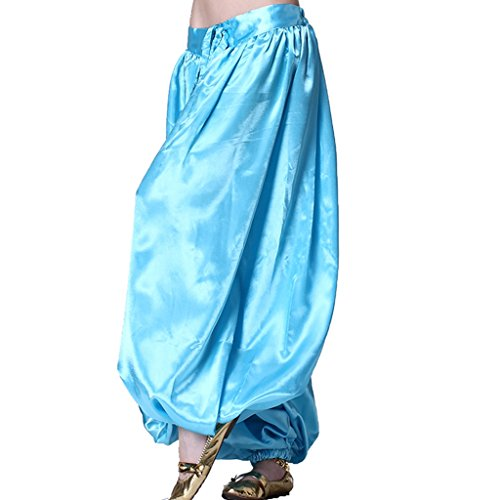MUNAFIE Belly Dance Arab Carnival Satin Pants Light Blue