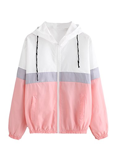 (Verdusa Women's Hooded Color Block Drawstring Sports Windbreaker Jacket Pink L )