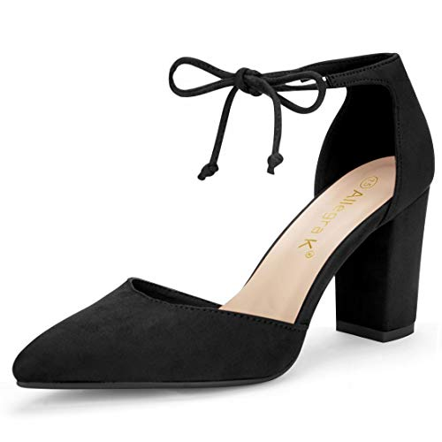 Allegra K Women's Ankle Tie Chunky Heel Pointed Toe Dress Black Pumps - 6.5 M US ()
