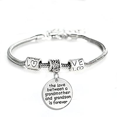 Love between a Grandmother and Grandson is Forever Bracelet - Family Jewelry Gift - 10''