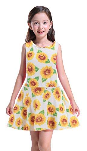 Girl's Dress, Cute Sunflower Printed Dress Sleeveless A-line