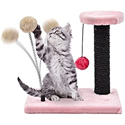 PAWZ Road Cat Scratching Post Kitty Scratch Natural Sisal with Plush Cover and Toys( Spring Ball + Hanging Ball ) Pink