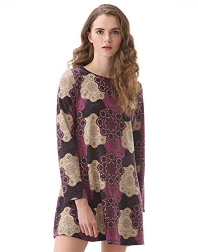 OEUVRE Women's Embroidered Ethnic Knee Length Long Sleeve Shift Dress-PURPLE-18 (Direct Shift)