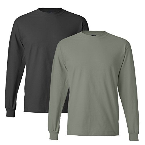 (Hanes mens 6.1 oz. Long-Sleeve Beefy-T(5186)-SMOKE GRAY/STONEWASH GREEN-L)