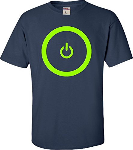 Price comparison product image YL 14-16 Navy Youth Gaming Power Button Gamer Pride T-Shirt