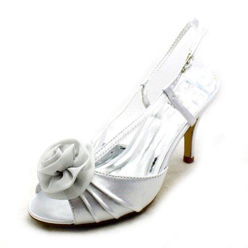 SendIt4Me Luxury satin high heel rosette toe bridesmaid/party shoes Silver jwhLJTM
