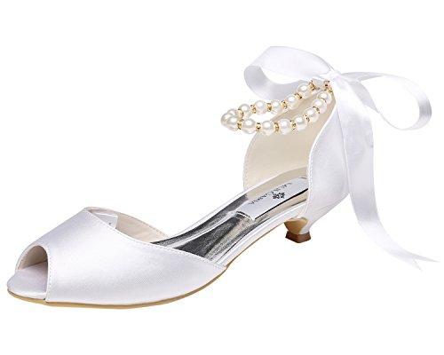 M MULGARIA Women's Pumps Peep Toe Low Heel Pearls Ribbon Rhinestones Satin Wedding Prom Shoes (EU38/7B(M) US, White)