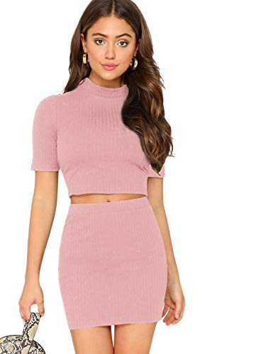 (SheIn Women's 2 Pieces Knit Ribbed Mock Neck Crop Top and Mini Skirt Set Pink)