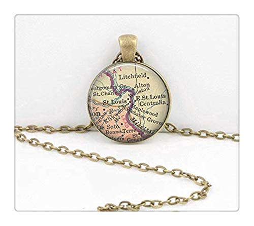 St. Louis Missouri Vintage Map, Geography Gift Pendant Necklace,Dome Glass Ornaments, Gifts for her