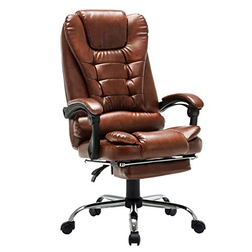 - Chair- Leather Office Chair Executive Chair Rotating Lifting Handrail with Footstool Swing Function Computer Napping Chair +
