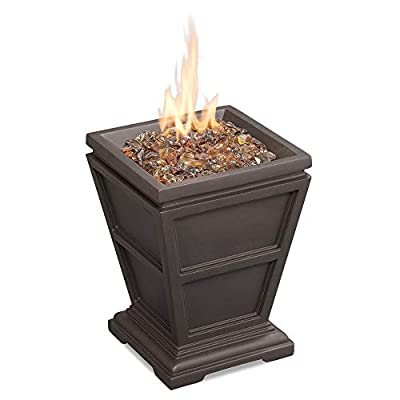 Endless Summer GLT1343B LP Gas Firepit, Brown Outdoor Fire Column - 10, 000 BTU stainless steel burner Includes Brown fire glass Brown finish with faux stone construction - patio, outdoor-decor, fire-pits-outdoor-fireplaces - 41038ENGA3L. SS400  -
