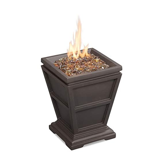 Endless Summer GLT1343B LP Gas Firepit, Brown Outdoor Fire Column - 10, 000 BTU stainless steel burner Includes Brown fire glass Brown finish with faux stone construction - patio, outdoor-decor, fire-pits-outdoor-fireplaces - 41038ENGA3L. SS570  -