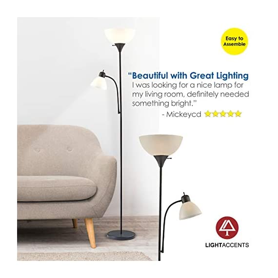 """Adjustable Floor Lamp with Reading Light by Light Accents - Susan Modern Standing Lamp for Living Room/Office Lamp 72"""" Tall - 150-watt with Side Reading Light Corner Lamp (Black) - Incandescent torchiere floor lamp for small- to medium-size rooms. Great as a dorm room floor lamp, floor lamps for bedrooms, floor lamp for living rooms. Sleek Black-painted finish with a gently curved white-frosted plastic shade Fully Adjustable Side Reading light, Use as a kids floor lamp floor lamps for bedrooms - living-room-decor, living-room, floor-lamps - 41038LNnnrL. SS570  -"""