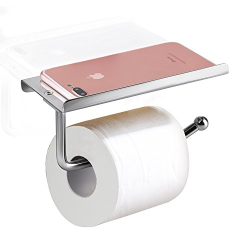E-PRANCE Toilet Paper Holder with Shelf - Heavy Duty Bathroom Tissue Holder Toilet Roll Holder Wall Mount by, Chrome